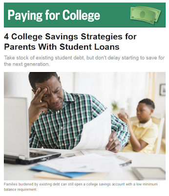 image from U.S. News Education feature.  4 College Savings Strategies for Parents with Student Loans
