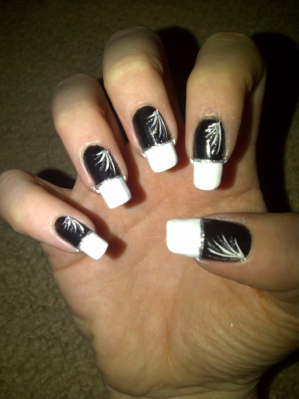 Black Nails With White Tips And Silver Design