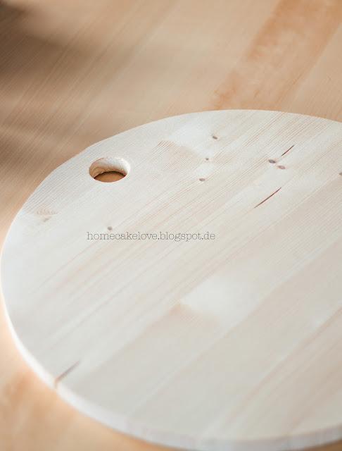 Holztablett selbstgemacht, Diy Holztablett, Holztablett rund selbstgemacht