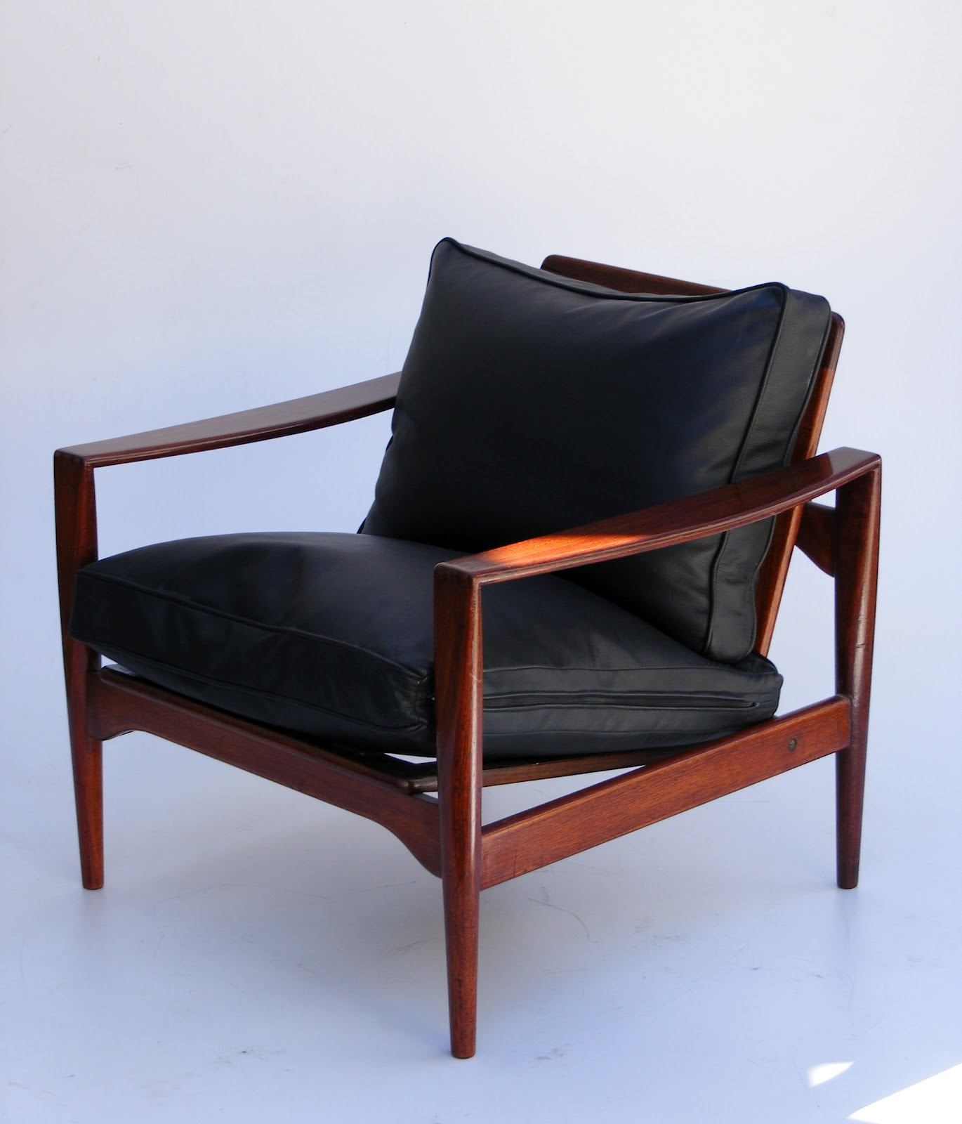 Mid Century Danish Easy Chair with leather cushions