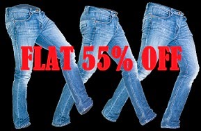 Flat 55% Off on Top Brand Men's Jeans starts Rs.854 (LEVI'S WRANGLER LEE PEPE NUMERO UNO BEING HUMAN CAT FREECULTR NAUTICA)