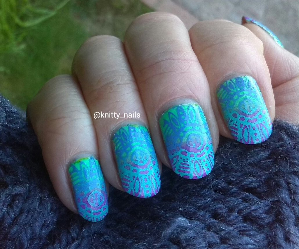Virtuous Polishes Queen Ester and Naomi and Apipila Super Plate A over neon gradient