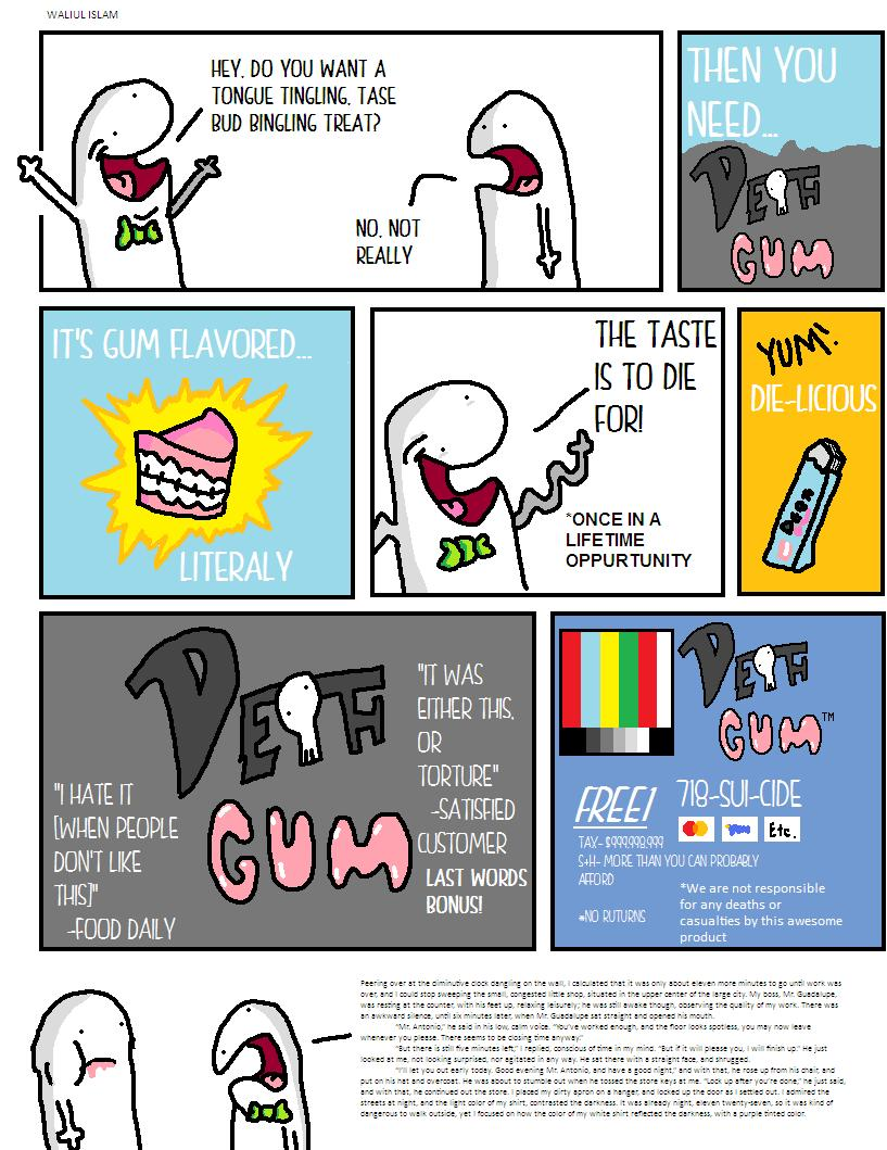 Death Gum Funny Comic about Advertising