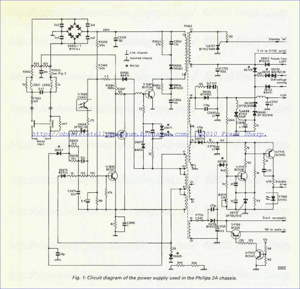 Obsolete Technology Tellye Philips 26ce2281 Rubens Chassis 2a Phillips Wiring Diagrams 1 Shows The Circuit Most Common Problem Is Failure Of But11 Chopper Transistor Tr7687 In This Event Mains Fuse F1651 Will Usually Be Blackened