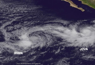 Hurrikan IRWIN und Tropischer Sturm JOVA tauschen Kategorie - jetzt Tropischer Sturm IRWIN und Hurrikan JOVA, Jova, Irwin, Satellitenbild Satellitenbilder, aktuell, Hurrikanfotos, Oktober, 2011, Hurrikansaison 2011,
