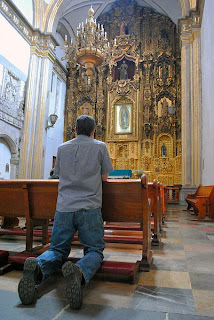 convento de san francisco, mexico city, prayer, man, kneeling