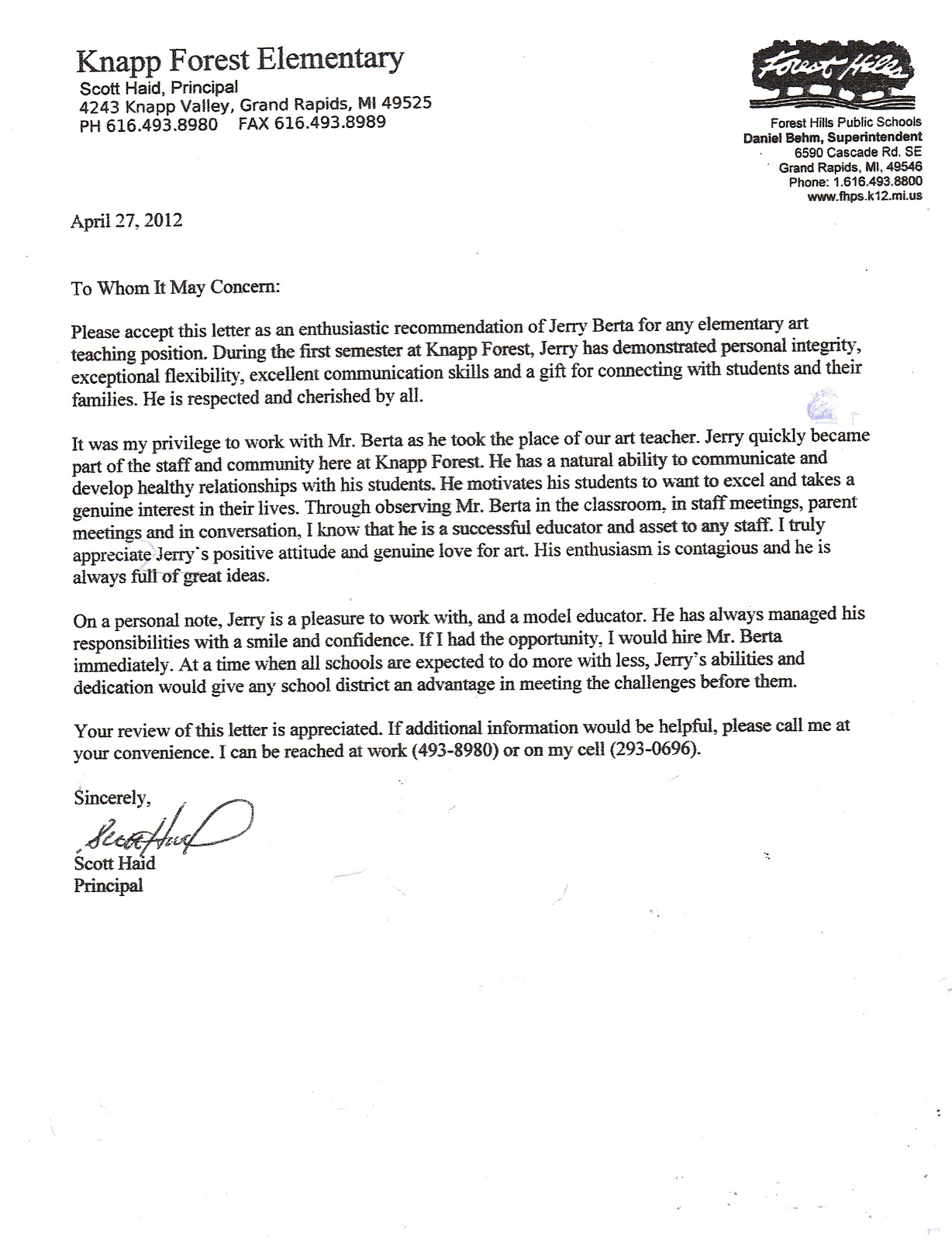 Sample Recommendation Letter For Teacher From Principal  EczaSolinfCo