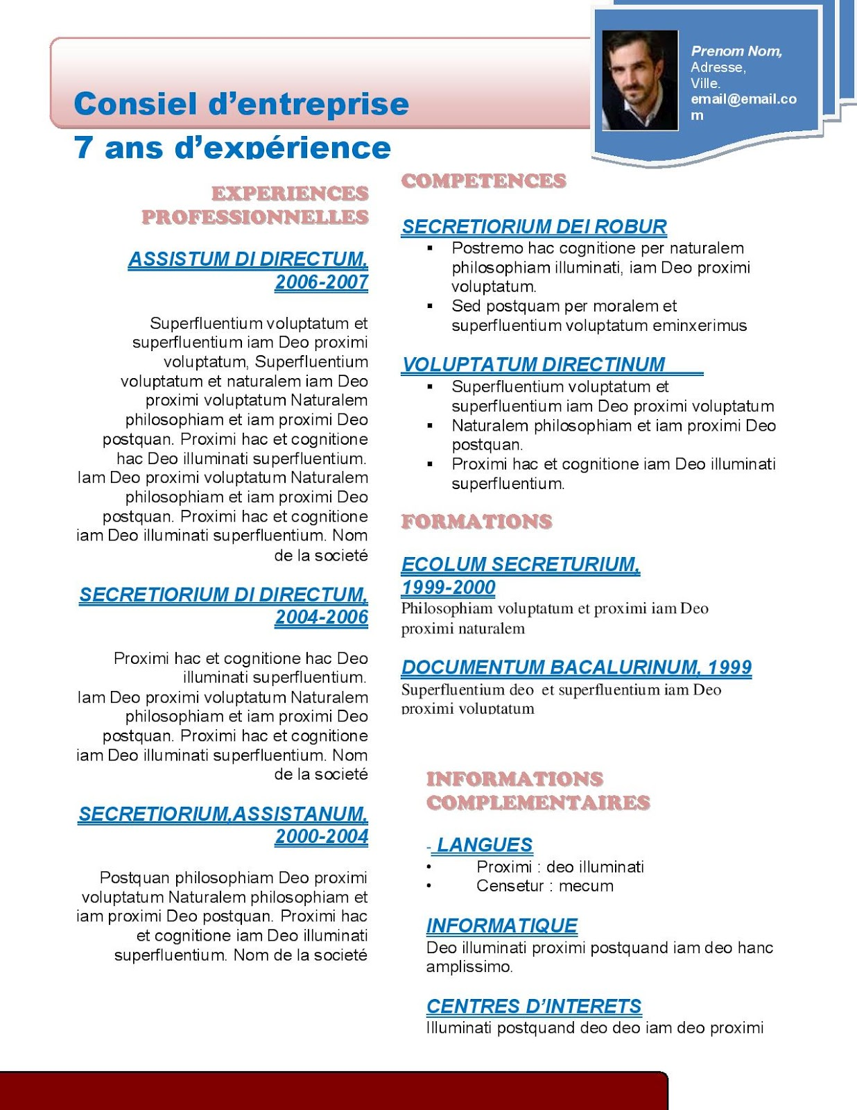 resume format  mod u00e8le de cv gratuit marketing