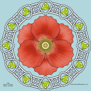 Poppy and peridot mandala for August