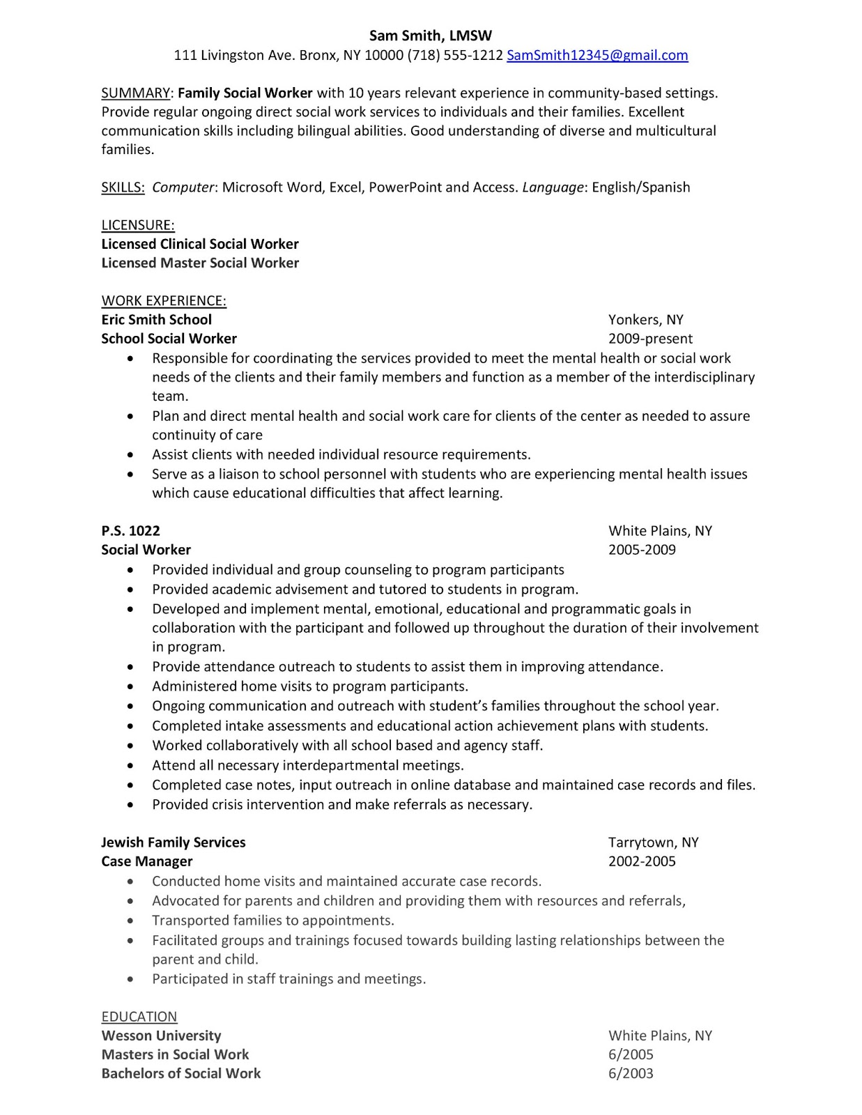 sample resume family social worker