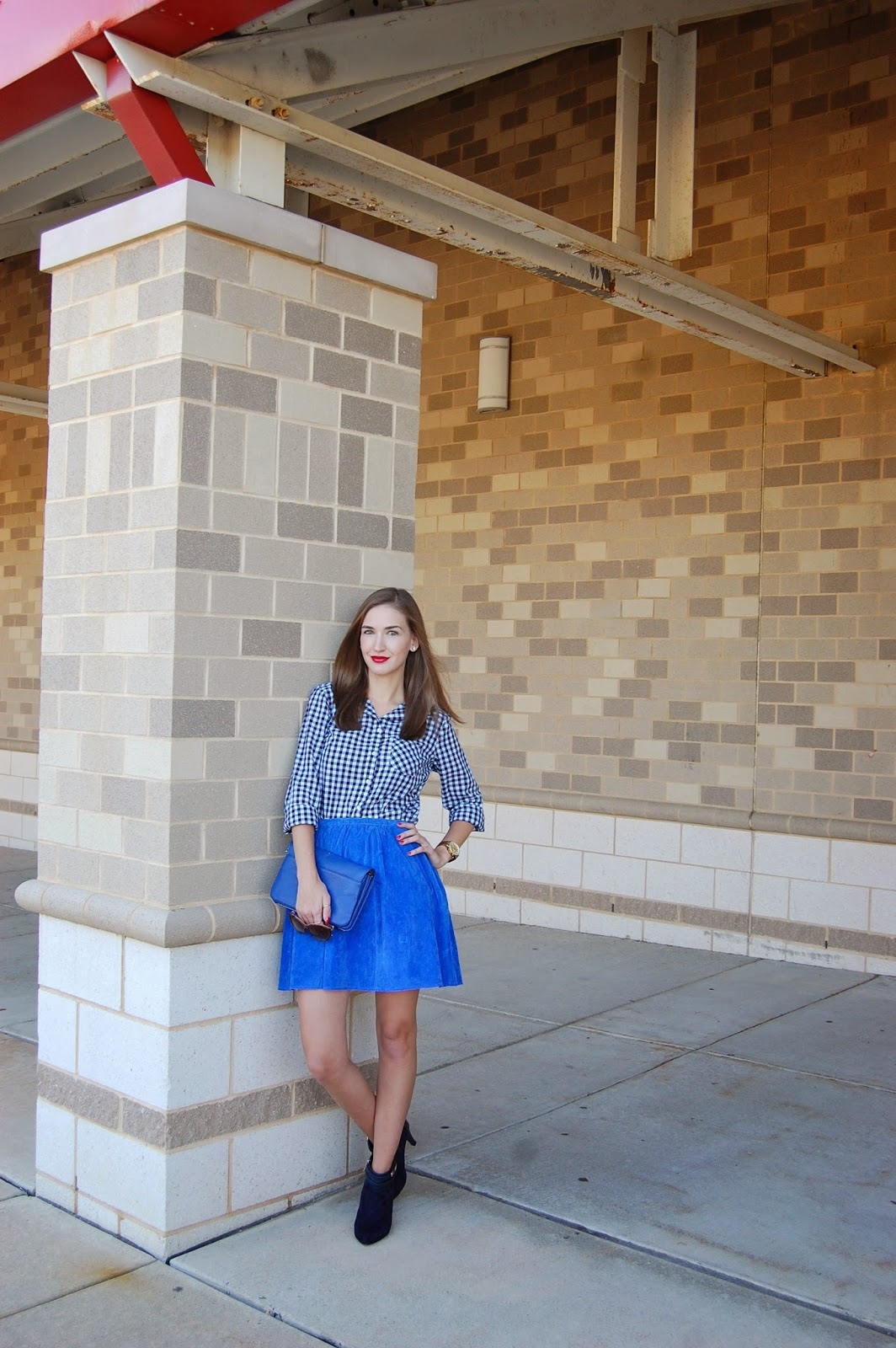 Wearing blue monochrome look, J.Crew Factory navy gingham top, Patterson J. Kincaid cobalt suede skirt, fall 2014 look