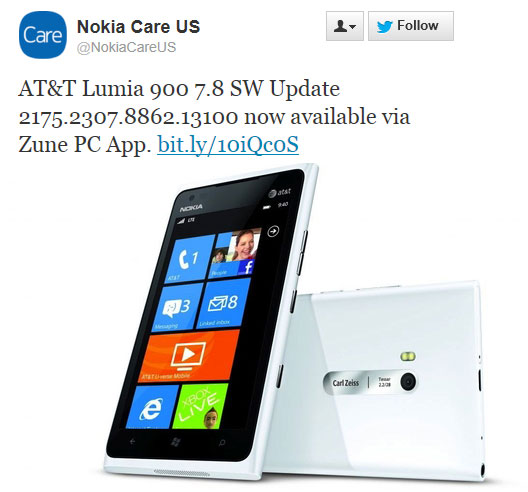 AT&T Nokia Lumia 900 finally start getting Windows Phone 7.8 Software Update