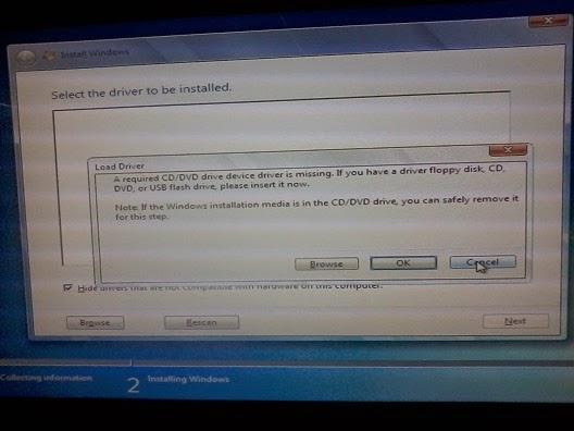 windows 7 install cd/dvd drivers missing