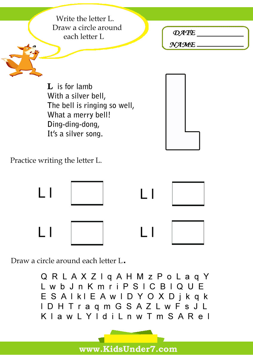 math worksheet : kids under 7 letter l worksheets : Letter L Worksheets Kindergarten