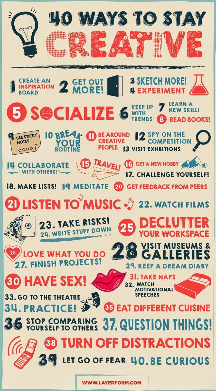 Infografía: 40 formas de mantenerse creativo