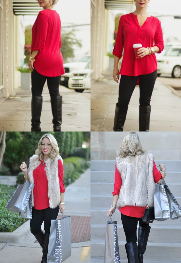 Winter fashion | red tunic top, perfect legging length & faux fur vest
