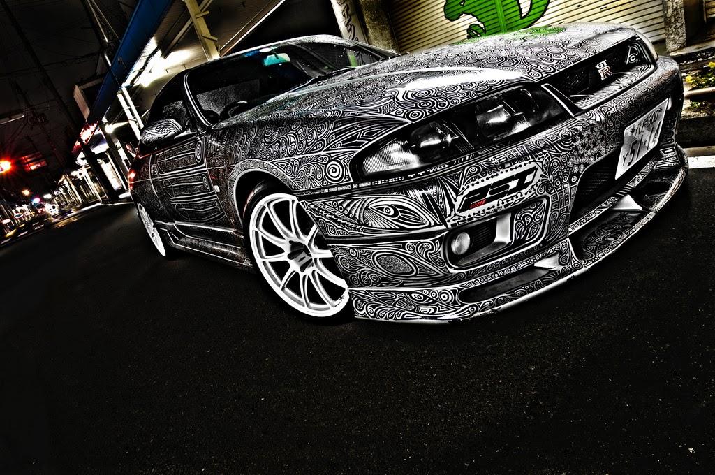 R33 Nissan Skyline GTR Sharpie Marker Inked Car