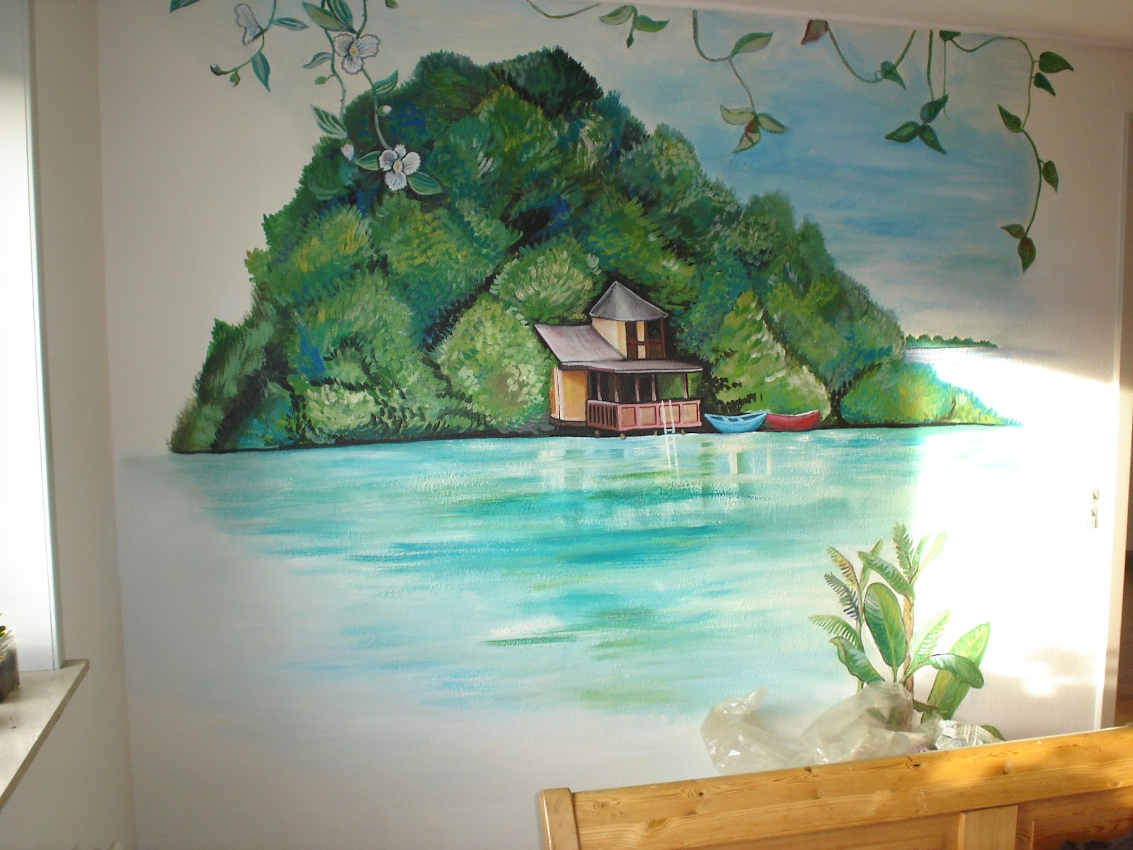 maggie murals tropical shore wall mural