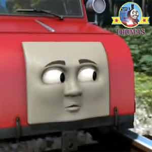 Thomas and friends Winston tiny red trolley car traveled slowly along wood track twinkling open eyes