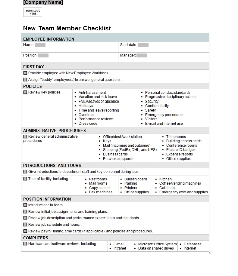 New Hire Checklist Template  Playbestonlinegames
