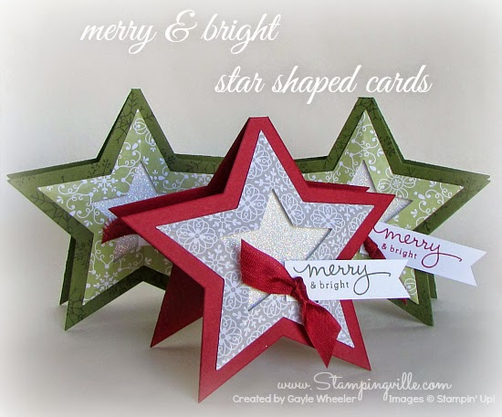 Merry & bright star shaped Christmas cards | Stampingville