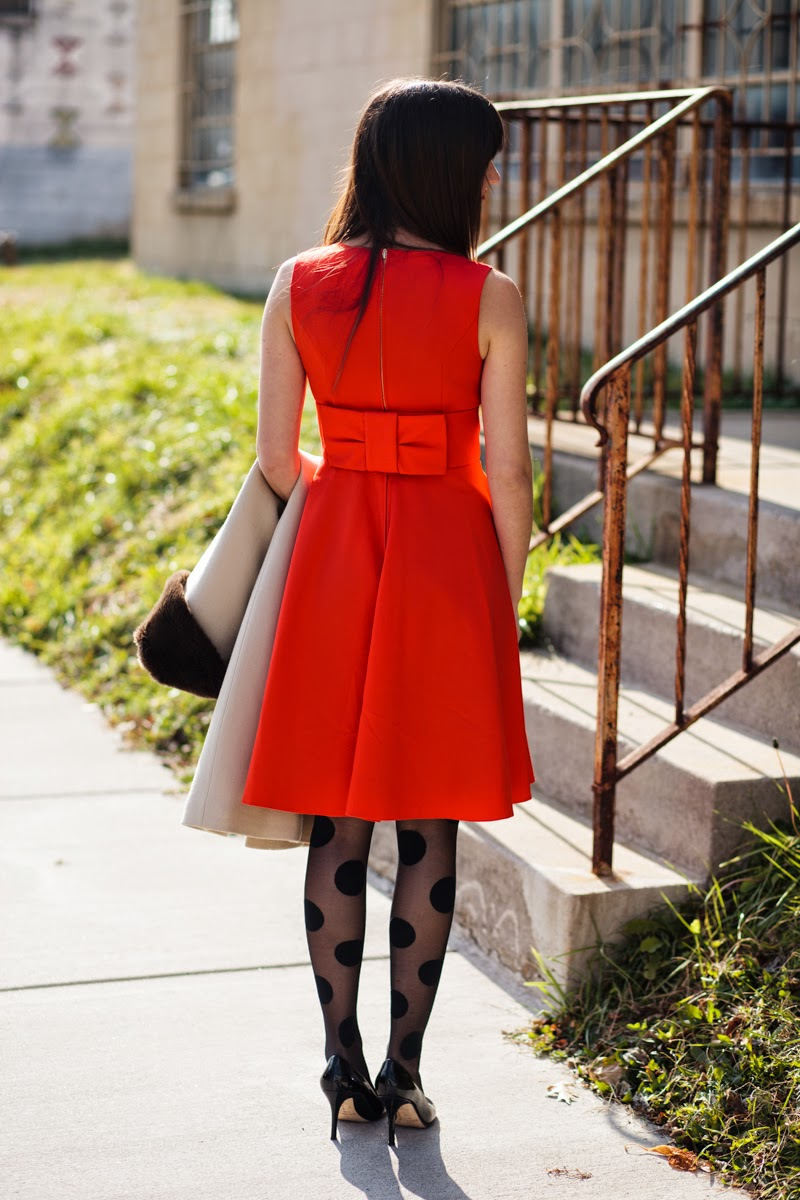 polka dot tights, leopard print coat, tan coat, red cocktail dress, kate spade cocktail dress, kate spade black heels, christmas cocktail dress, holiday dress