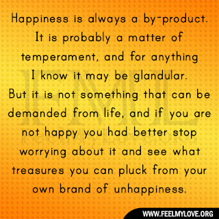 Happiness is always a by-product