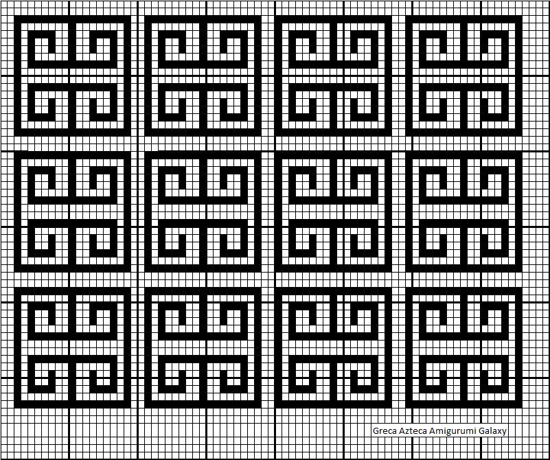Amigurumi Galaxy: Greca azteca crochet filet