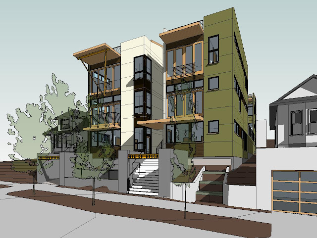 Neiman taber architects marion green courtyard townhomes for 3 story house plans with roof deck