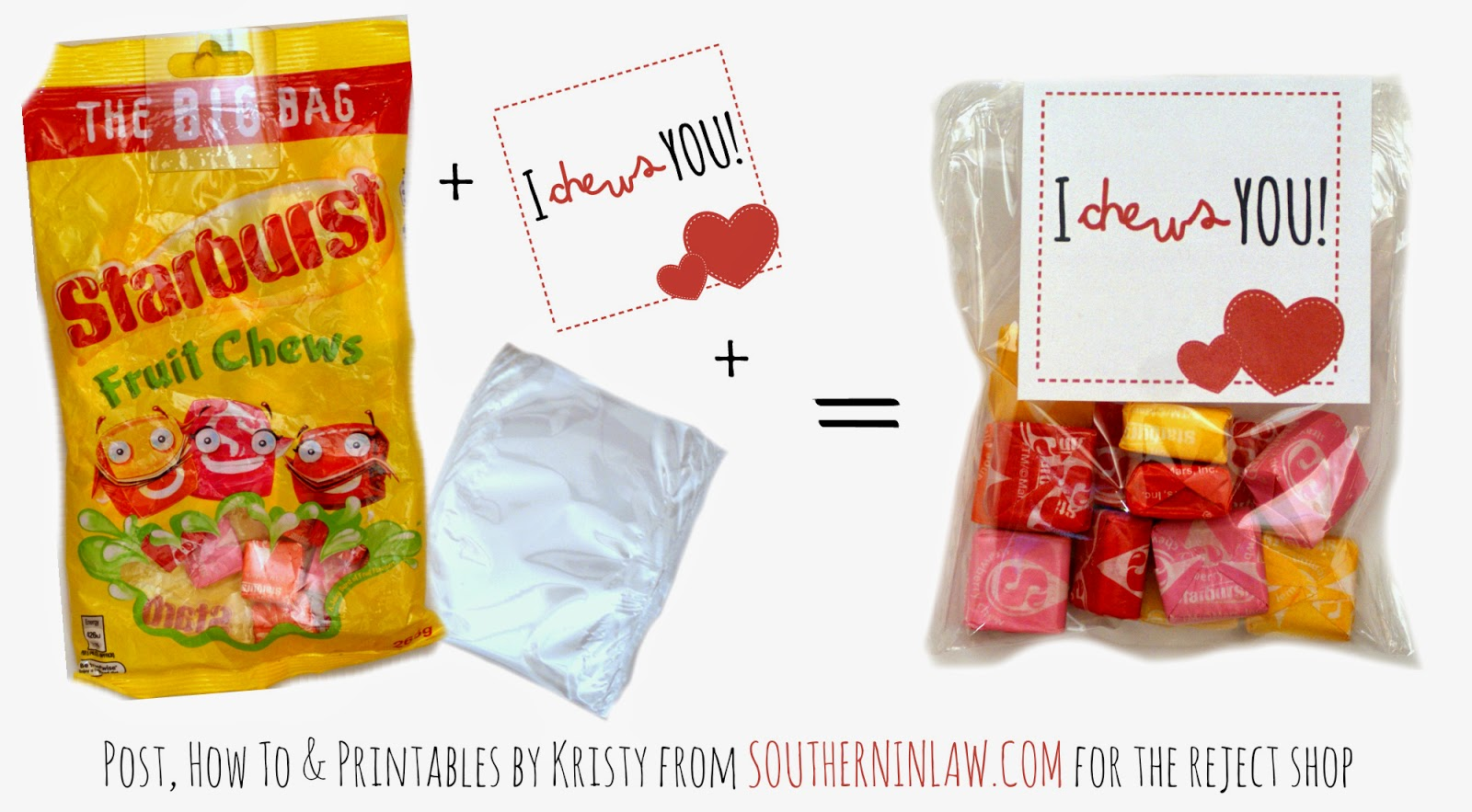 I Chews You Starburst Valentines Gift Idea - Punny Valentines Gift Ideas Free Printable Valentines Cards