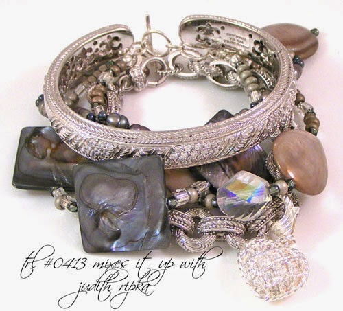 Gray Mother-of-Pearl Shell & Pearl Sterling Silver Bracelet