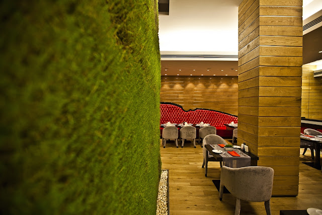 Picture of green wall with living grass in the Red Canape restairant
