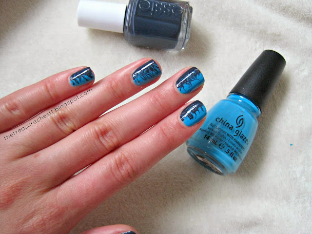 essie bobbing for baubles china glaze sunday funday swatch review swirl manicure waves on nails nails  autumn nails