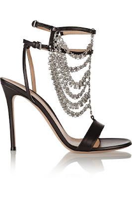 Gianvito Rossi black stiletto sandals with chains