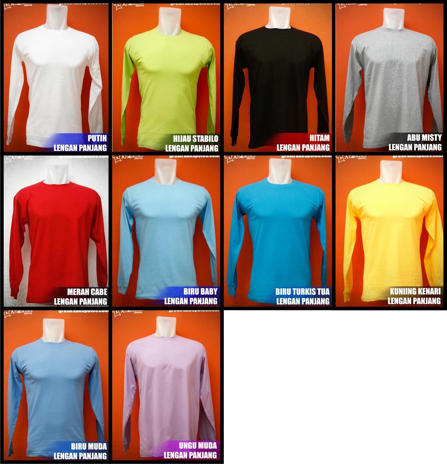 Desain Baju Online Kaos Polos Lengan Panjang Cotton Combed 20s Size Xl Atau Carded M Ml