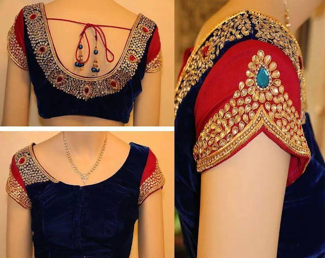 latest blouse designs 2015 for net sarees