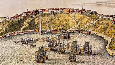 Baía de Todos os Santos, em c. 1625. Imagem: 50 anos de urbanização: Salvador da Bahia no séc. XIX. Rio de Janeiro, Versal, 2005.(Postado por Carlos Silva - 01/11/2010 | 11:19).
