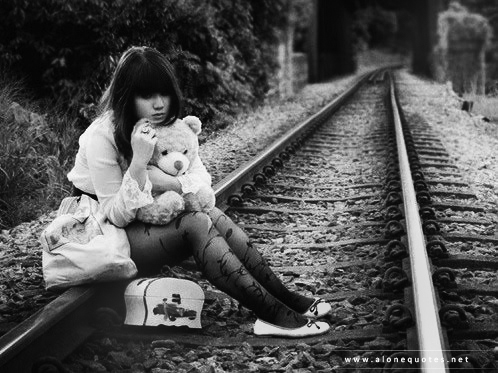 alone gril in rail way wallpapers