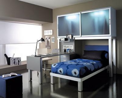 habitación para adolescente en azul