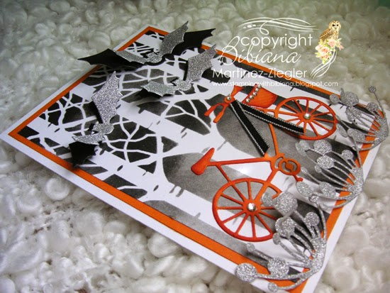halloween bicycle card flat view