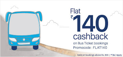 Flat 140 cashback on Bus booking by Paytm December Offer