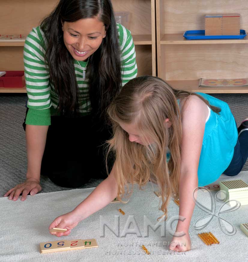 NAMC Montessori and RTI response to intervention. teacher and girl working with golden bead material