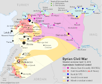 Map of the territorial control (Assad government, Islamic State/ISIS/ISIL, rebel, and Kurdish) in the Syrian Civil War as of April 2015