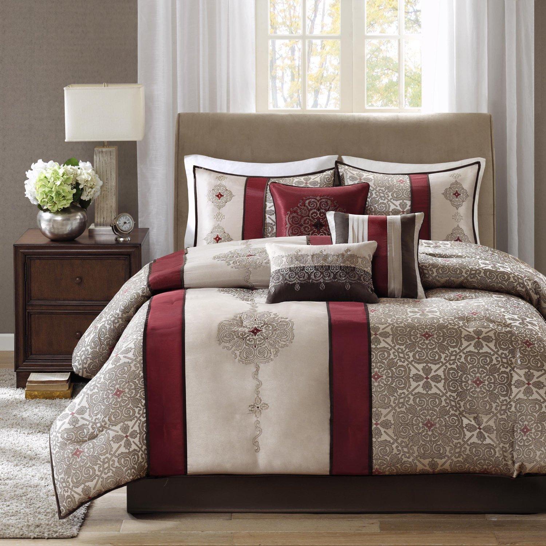 opulent design cream bedding. Burgundy Bedding  7 Pc Comforter Set in Cream Sets