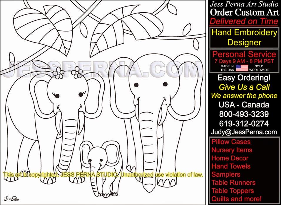 Elephant Family Find Quilt Block Pattern Designer