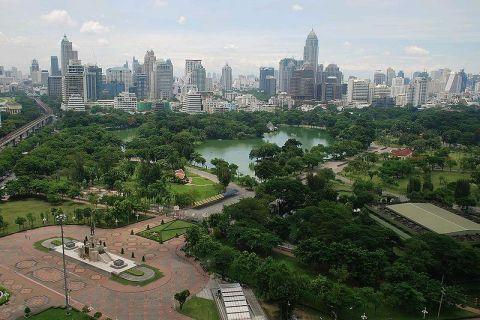 Panorámica del Parque Lumpini en Bangkok