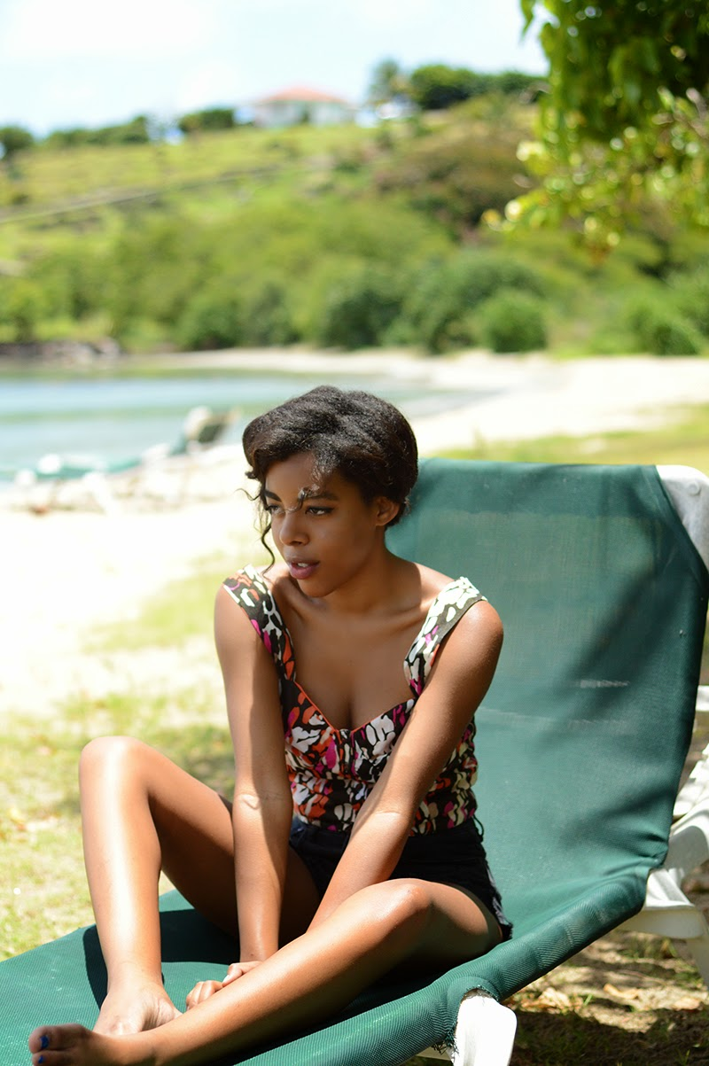 Miami Fashion Blogger Anais Alexandre of Down to Stars in a Lucca Couture top and Ladakh shorts in Saint Kitts and Nevis