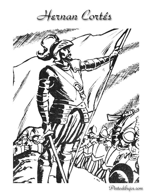 Hernán Cortés para Colorear