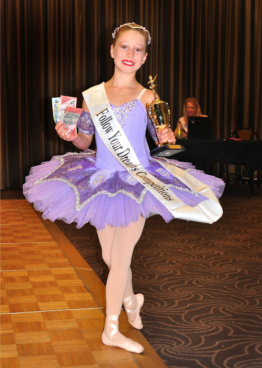 Indi in her new tutu, Junior Dancer of the Year, Follow your Dreams, Wangaratta 2012