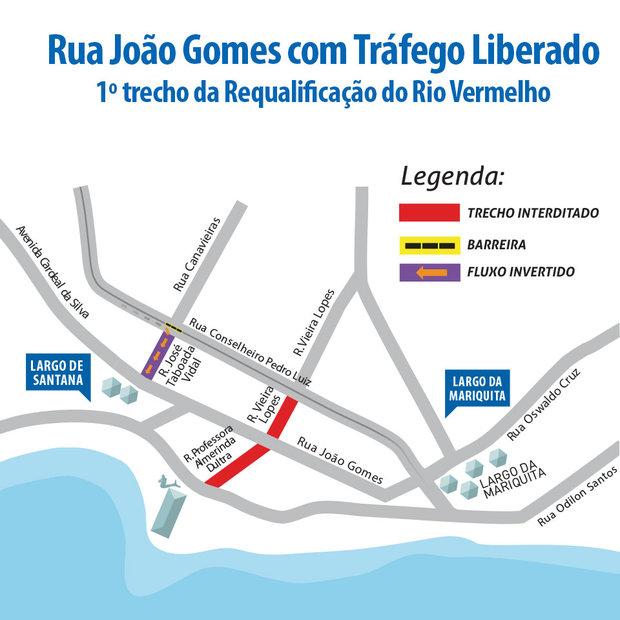 Rua João Gomes liberada para o tráfego